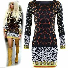 Womens Ladies Celebrity Nicky Minaj Mini Bodycon Leopard Tiger Print Dress Top