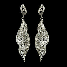 Silver Clear Crystal Rhinestone Dangle Earrings #2252  8 Different colors