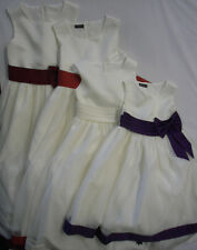 Childrens Girls Occasion Dress Cream Purple Red White Bridesmaid Party Prom Bow