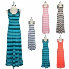 Striped Sleeveless Racerback Tank Maxi Dress Full Length Long Casual Span S M L