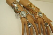 New Women Silver Gold Metal Fashion Cuff Bracelet Big Drop Slave Ring Rhinestone