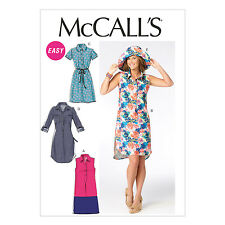 McCall's 6885 Easy Sewing Pattern to MAKE Misses' Shirt Style Dress & Hat