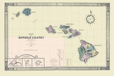 Old State Map - Hawaii - Giles 1876 - 23 x 34.54