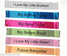 Baby Shower Party Sashes - New Big Sister or Brother To Be Personalised Sash