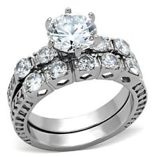 1.98 Ct Round Center CZ Stainless Steel Womens Engagement 2 Rings Set SZ 5-10