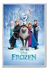 Framed Frozen Disney Movie Cast Poster Ready To Hang - Choice Of Frame Colours