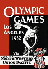 TA35 Vintage Los Angeles 1932 Olympic Games Railways Travel Poster A2/A3/A4
