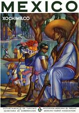 T61 Vintage Mexico Mexican Xochimilco Travel Poster Re-Print A2/A3/A4
