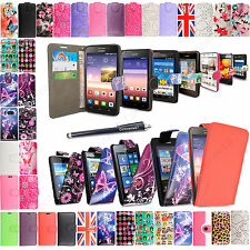For Various Huawei Phone Printed Book Flip PU Leather Stylish Case Cover+Stylus