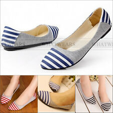 Women's Sweet Casual Striped Ballet Flat Shoes Round Toe Loafers A2044 FST
