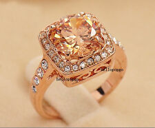 18K Rose Gold GP Swarovski Crystal Engagement Wedding Lover Fashion Ring