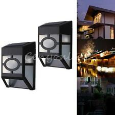 Solar Powered Wall Mount 2 LED Lights Lamp Outdoor Landscape Garden Yard Fence