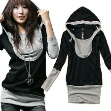Womens Top Jumper Long Sleeve Cotton T shirt Black Hooded Top Blouses Tunic