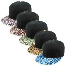 Sense42 black Snapback with Umbrella in Leopard Design Flat Cap Bill Unisex
