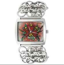 Ed Hardy LYHT Lynx Ladies Watch Stainless Steel Square Flower Heart Design Dial