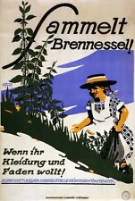 WA134 Vintage WW1 German Collect Stinging Nettles For Clothes Poster A1/A2/A3/A4