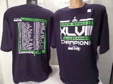 """4815 Mens NFL SEATTLE SEAHAWKS SUPER BOWL CHAMPIONS """"With Roster"""" Shirt BLUE"""