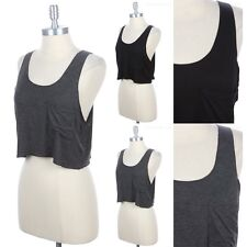 Solid Sleeveless Scoop Neck Drop Armhole Tank Top with Front Chest Pocket S M L