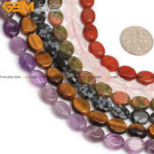 "8x10mm Natural Stone Multi Gemstone Beads For Jewelry Making 15"" Flat Oval"