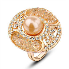 18K Yellow Gold GP Net Mesh CZ Austrian Crystals Pearl Cocktail Ring R108