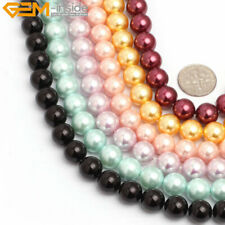 "Natural Sea Shell Beads For Jewelry Making 15"" 10mm Round Dyed Multi-color"
