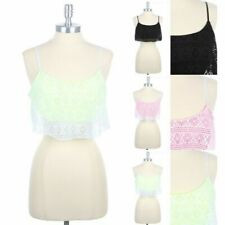Aztec Lace Adjustable Spaghetti Strap Ruffle Cami Top Casual Cute Poly S M L