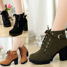 Women Lace Up Ankle Boots Platform Suede High Heel Punk Buckle Shoes Ladies Girl