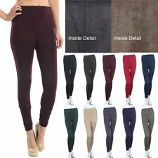 Seamless Basic Fur Lined Leggings Solid and Plain Stretch Nylon Spandex ONE SIZE