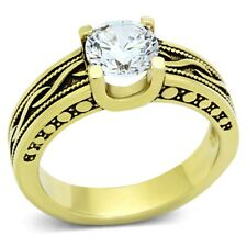 Gold IP Stainless Steel Antique style Brilliant Cut CZ Engagement Ring SIZE 5-10