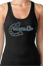 Cowgirl Up Horseshoe Rhinestone Women's Fitted Tank Tops Country Western Rodeo