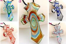 exquisite cross glaze art glass beaded pendant necklace P353-7