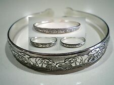 Wholesale 4 Sterling Silver Carved Elephant Fish Flower Animal Cuff Bracelets