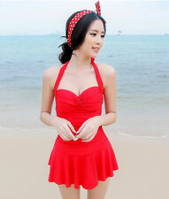 One Piece 1403 Push Up Halter Swimsuit  Swimdress Tankini with Attached Bottom