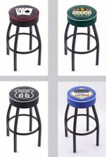 "Choose Gambling Poker Logo L8B1 Black Single-Ring Swivel Bar Stool w/ 4"" Cushion"