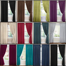 """PAIR FAUX SILK PREMIUM QUALITY 3"""" TAPE TOP FULLY LINED CURTAINS - NEW LOW PRICE!"""