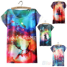 Casual Style Short Sleeve Galaxy Stars Graphic Printed T Shirt Blouse Tops B1AU