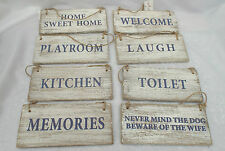 Wooden Shabby Chic Distressed Hanging Plaques Signs Toilet/Kitchen/W.C Plus More