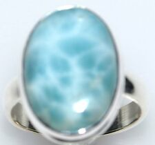 RARE Larimar Sterling SILVER Ring Blue Gemstone 925 Rings;Size L to Y; 50.5 12