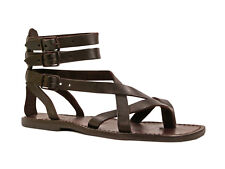 Handmade gladiator sandals for men Made in Italy in brown real genuine leather