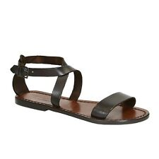 Handmade leather sandals for womens in Dark Brown genuine Leather Made in Italy