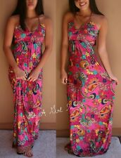 SEXY PINK PAISLEY LONG BRAIDED ROPE HALTER CLEAVAGE MAXI DRESS BOHO S M L