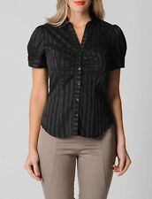 Hot Options Ladies Bustier City Short Sleeve Button Down Shirt  sizes 8 10 12 14