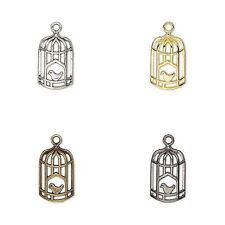 10 Bird Cage Bead Drop Charms Birdcage Silver Brass Gunmetal Bronze U pick