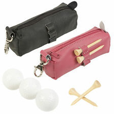 Golf 3 Balls & Wood Tee Gift Set Genuine Leather Unisex Father's Day Clubhouse