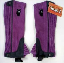 Riding YOUTH KIDS HALF SYNTHETIC CHAPS TOUGH 1 English Western HORSE HEAD Purple