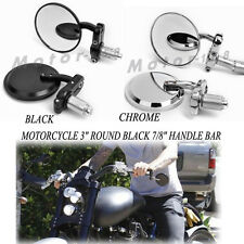 "MOTORCYCLE 3"" CHROME BLACK 7/8"" HANDLE BAR END MIRRORS CAFE RACER BOBBER CLUBMAN"