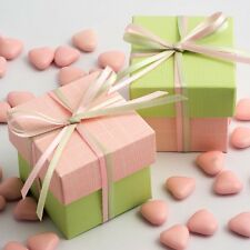 Pink Silk & Light Green Two Tone Square Box & Lid Wedding Favour Party Boxes