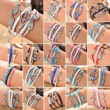 Fashion Multilayer Leather Infinity Charm Braided Bracelet Jewelry Free Shipping