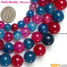 Round multi-color agate gemstone jewelry making loose beads strand 15 inches
