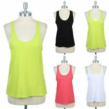 Raw Unfinished Neckline Racerback Tank Sleeveless Round Neck Top Cotton S M L